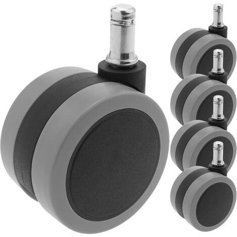 PrimeMatik - Rueda pivotante de nailon y PVC con freno a presión 65 mm M11 5 pack