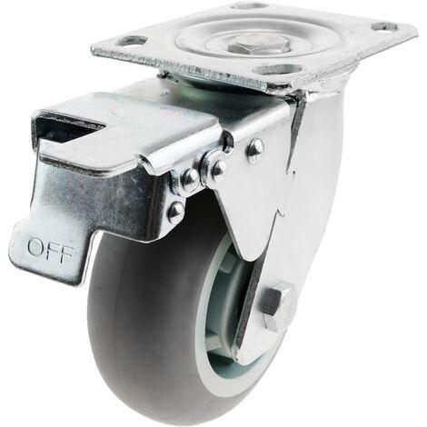 PrimeMatik - Rueda pivotante industrial de poliuretano con freno 125 mm