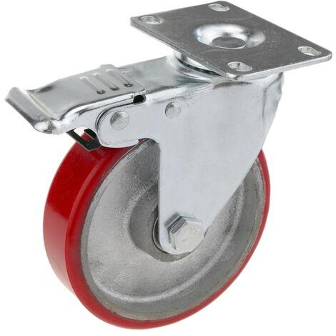 PrimeMatik - Rueda pivotante industrial de poliuretano y metal con freno 125 mm