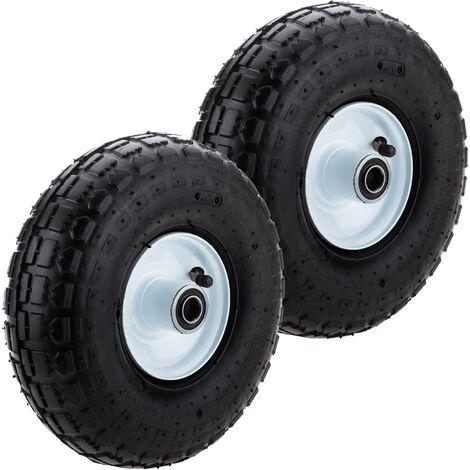 """PrimeMatik - Ruota pneumatica di carriola 2-pack 136 Kg 10x3,5"""" 254x89 mm per piattaforme di trasporto"""