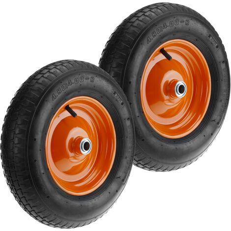 """PrimeMatik - Ruota pneumatica di carriola 2-pack 95 Kg 16x4"""" 406x102 mm per piattaforme di trasporto"""