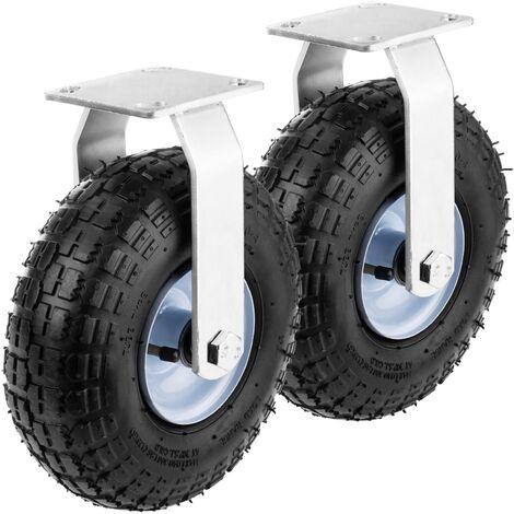 """PrimeMatik - Ruota pneumatica fissa di carriola 2-pack 136 Kg 10x3,5"""" 254x89 mm per piattaforme di trasporto"""