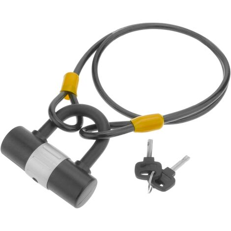 PrimeMatik - Security padlock and steel cable with outdoor protection 8x1000mm