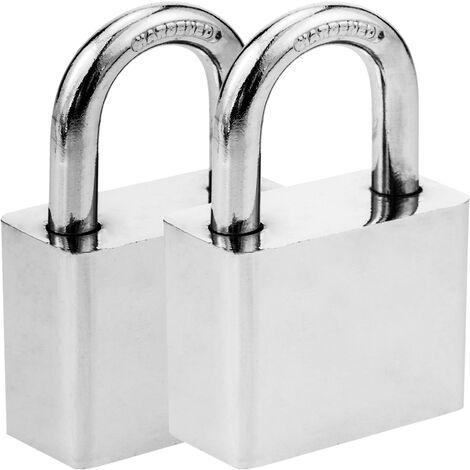 PrimeMatik - Security padlock iron 50mm 2-pack