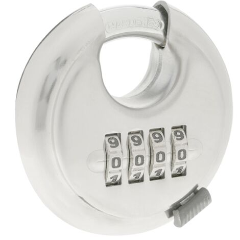PrimeMatik - Security padlock round Stainless steel with 4 digit combination 70mm