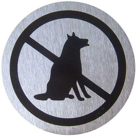 PrimeMatik - Señal prohibido perros de acero inoxidable de 65mm