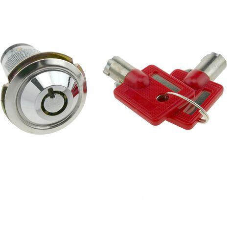 PrimeMatik - Serrure à came batteuse barillet 27mm x M18 avec clé tubulaire avec interrupteur