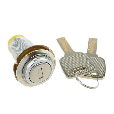 PrimeMatik - Serrure à came batteuse barillet 37mm x M18 avec clé plat avec interrupteur