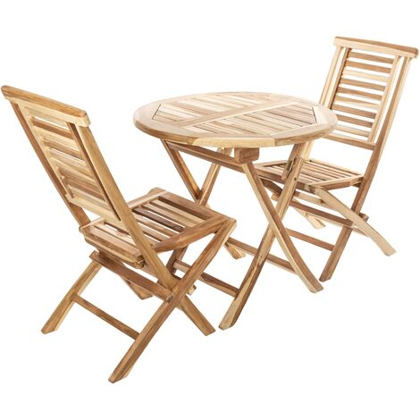 PrimeMatik - Set of round table 80 cm and 2 chairs for outdoor garden in certified teak wood