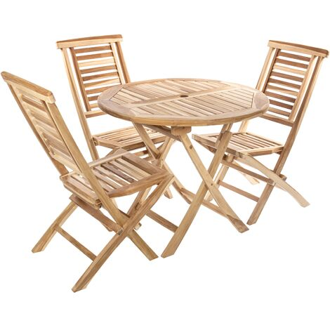 PrimeMatik - Set of round table 90 cm and 3 chairs for outdoor garden in certified teak wood