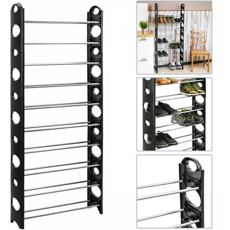 PrimeMatik - Shoe Rack Stand Storage Organiser 10 Tier Free Standing Shelf for 30 pairs