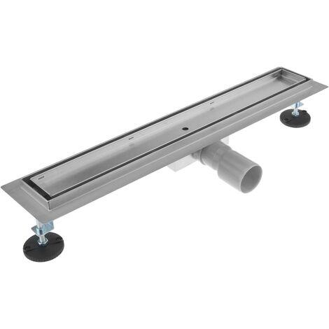 PrimeMatik - Shower drain linear channel 60x7 cm stainless for tile insert