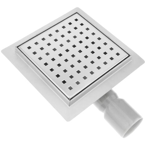 PrimeMatik - Shower drain squared channel 15 cm stainless with grid