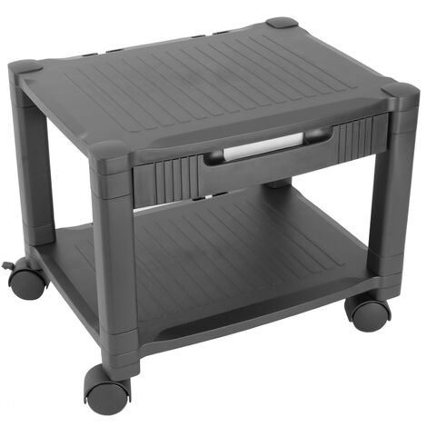 PrimeMatik - Side table 2 levels for printer with wheels and drawer