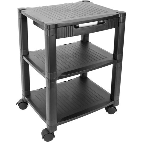 PrimeMatik - Side table 3 levels for printer with wheels and drawer