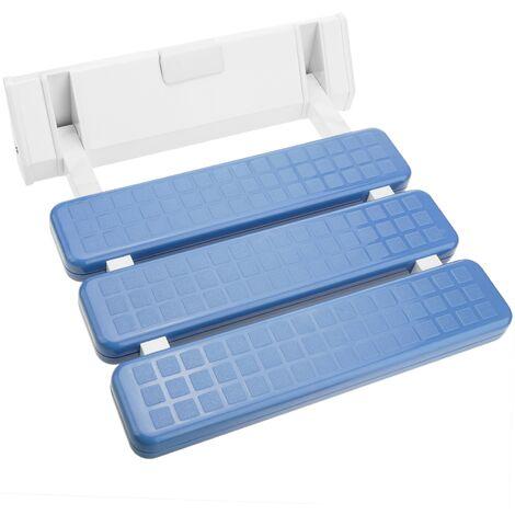 PrimeMatik - Siège de douche rabattable. Chaise pliant en plastique et aluminium bleu 320x328mm