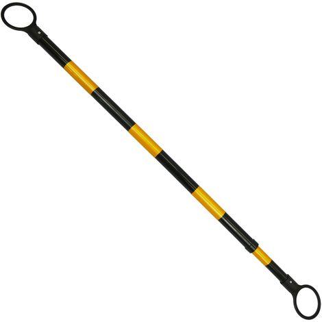 PrimeMatik - signalisation Barra entre deux cônes pour installer des balises 127cm jaune et noir