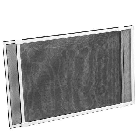 PrimeMatik - Sliding mosquito net for window 50 cm x max 142 cm white aluminum