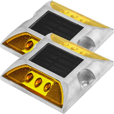 PrimeMatik - Solar road stud LED for warning sign 105x105x20mm aluminum 2-pack