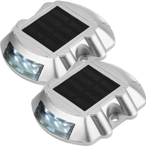 PrimeMatik - Solar road stud LED for warning sign 108x95x22mm aluminum 2-pack