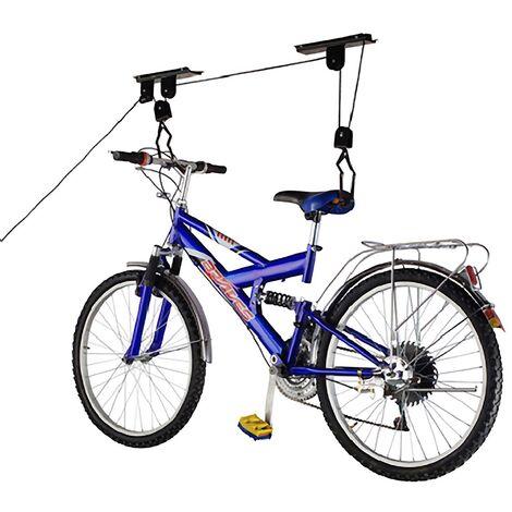 PrimeMatik - Soporte para colgar bicicletas del techo mediante poleas y cuerdas