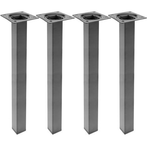 PrimeMatik - Square table legs for desks cabinets furniture made of black steel 40cm 4-pack
