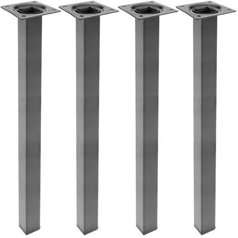 PrimeMatik - Square table legs for desks cabinets furniture made of black steel 75cm 4-pack