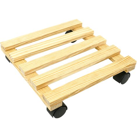 PrimeMatik - Square wooden roller platform dolly with wheels 30 cm