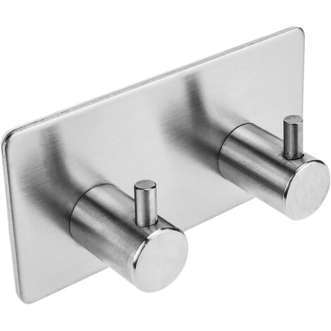 PrimeMatik - Stainless steel coat hook for wall mount. Clothes hanger and towel rack with 2 hooks