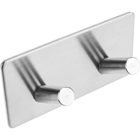 PrimeMatik - Stainless steel coat hook for wall mount. Clothes hanger and towel rack with 2 inclined hooks