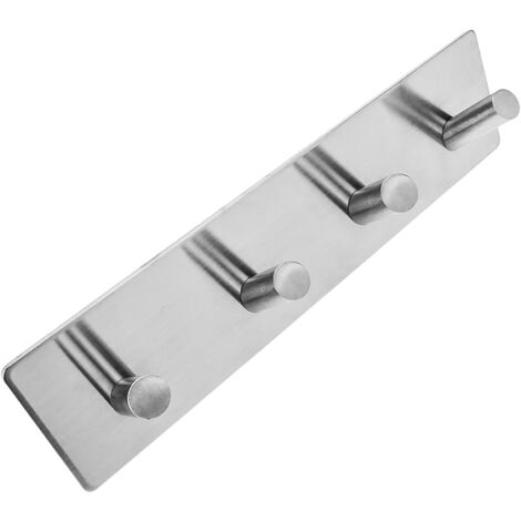 PrimeMatik - Stainless steel coat hook for wall mount. Clothes hanger and towel rack with 4 inclined hooks