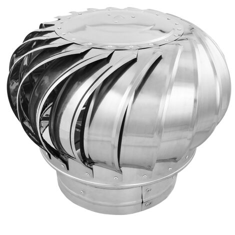 PrimeMatik - Stainless steel rotating chimney cowl cap spinner anti-downdraught 250 mm pipefit
