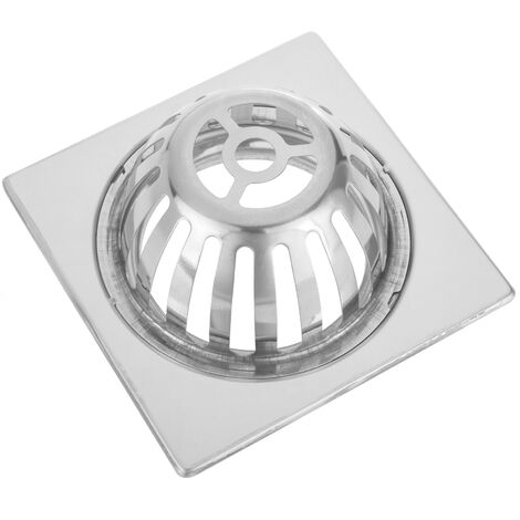 PrimeMatik - Sumidero 15x15cm con rejilla alta extraíble de acero inoxidable brillante