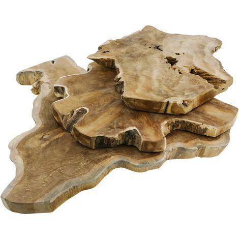 PrimeMatik - Tabla de cortar de madera de teca certificada 3 unidades