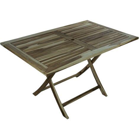 PrimeMatik - Table de jardin pliante 135 x 85 cm en bois de teck certifié