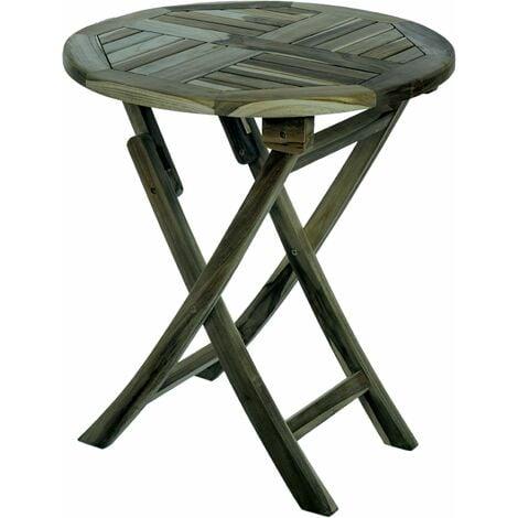PrimeMatik - Table de jardin pliante ronde 66 cm en bois de teck certifié