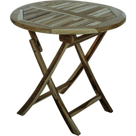 PrimeMatik - Table de jardin pliante ronde 80 cm en bois de teck certifié