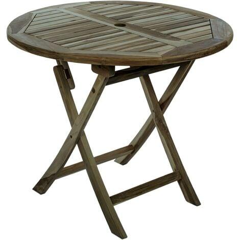 PrimeMatik - Table de jardin pliante ronde 90 cm en bois de teck certifié