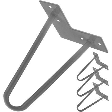 PrimeMatik - Table legs for desks cabinets furniture made of steel 2 rods 15 cm 4-pack
