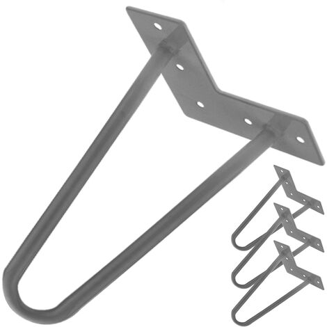 PrimeMatik - Table legs for desks cabinets furniture made of steel 2 rods 20 cm 4-pack