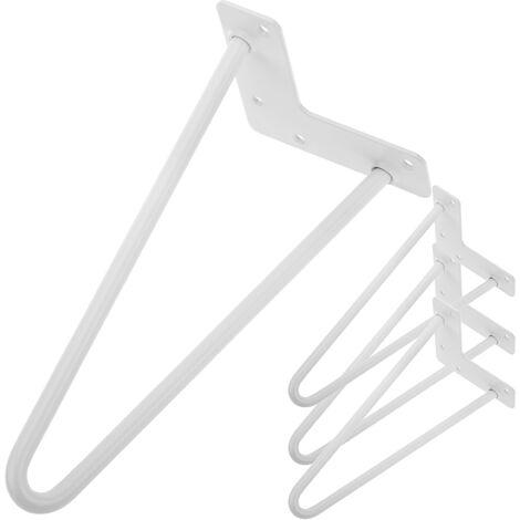 PrimeMatik - Table legs for desks cabinets furniture made of steel 2 rods 30 cm white 4-pack