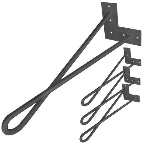 PrimeMatik - Table legs for desks cabinets furniture made of steel 2 rods 41 cm black 4-pack loop type