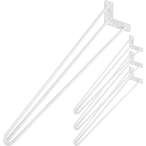 PrimeMatik - Table legs for desks cabinets furniture made of steel 3 rods 71 cm white 4-pack