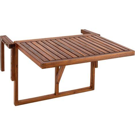 PrimeMatik - Table pliante 60 x 40 cm en bois de teck certifié pour balcon extérieur