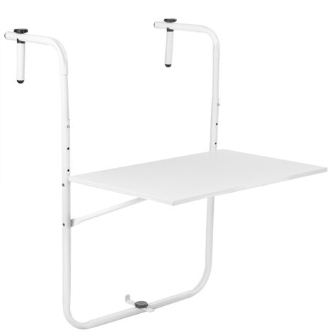 PrimeMatik - Table pliante en métal pour balcon 60x40cm blanc