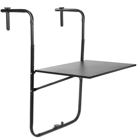 PrimeMatik - Table pliante en métal pour balcon 60x40cm noir
