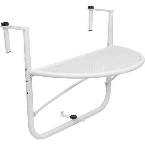 PrimeMatik - Table pliante semi-circulaire pour balcon 60x30cm blanc