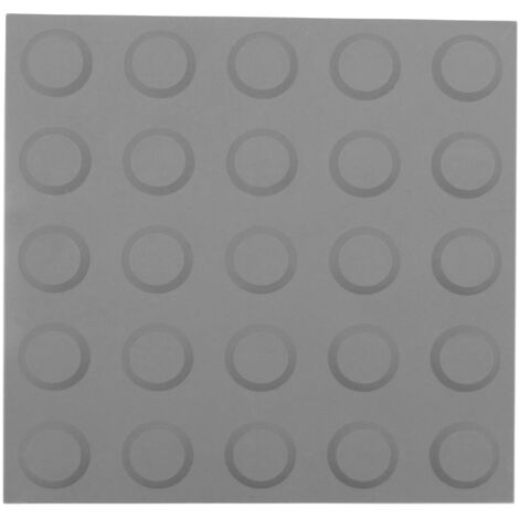 PrimeMatik - Tactile paving floor tile for blind people 25x25cm with circles of stop and alert gray 10-pack