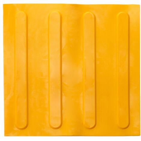 PrimeMatik - Tactile paving floor tile for blind people 30x30cm with advance lines yellow 10-pack