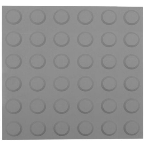 PrimeMatik - Tactile paving floor tile for blind people 30x30cm with circles of stop and alert gray 10-pack